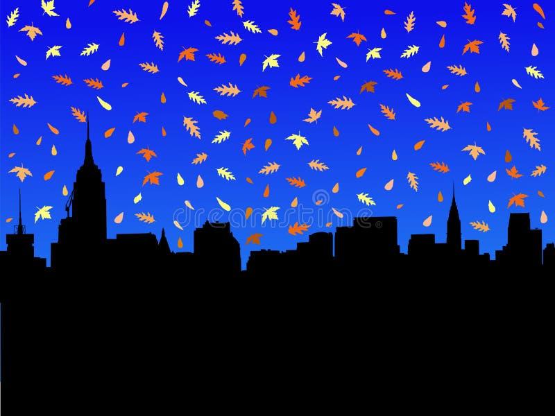 Download Orizzonte Di Manhattan In Autunno Illustrazione Vettoriale - Illustrazione di rosso, nuovo: 3876021