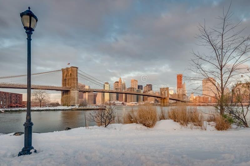 Orizzonte di Manhattan da Pebble Beach a Brooklyn, Stati Uniti fotografie stock libere da diritti