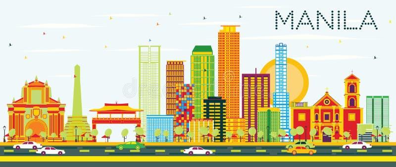 Orizzonte di Manila con le costruzioni ed il cielo blu di colore illustrazione di stock