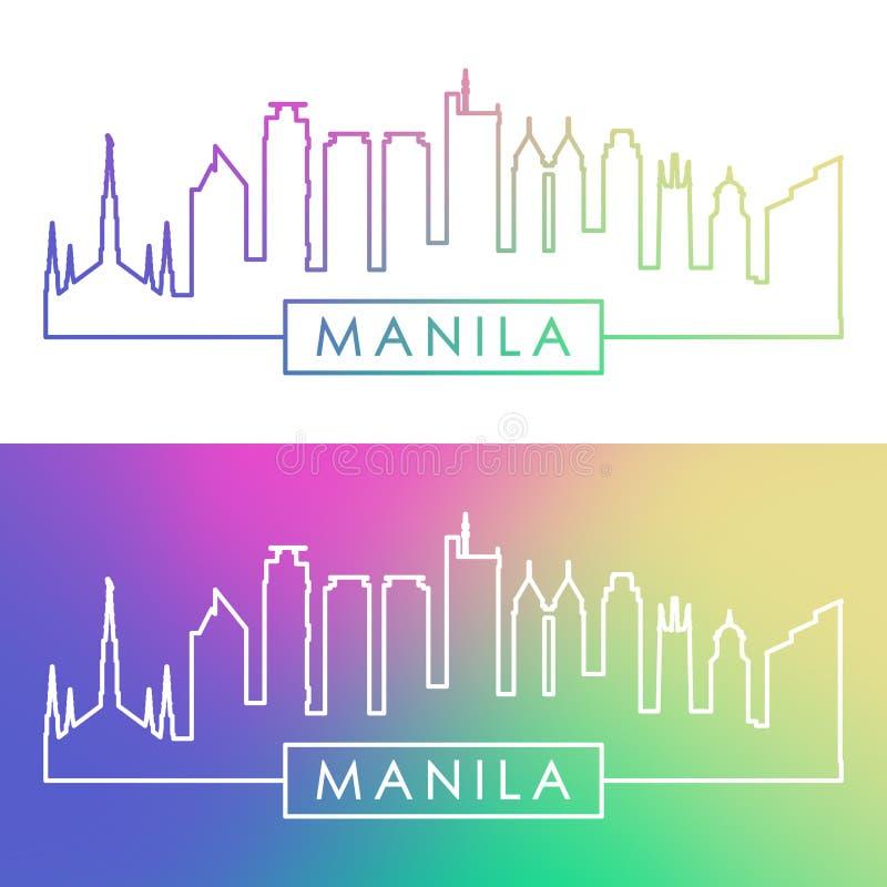 Orizzonte di Manila Stile lineare variopinto illustrazione vettoriale