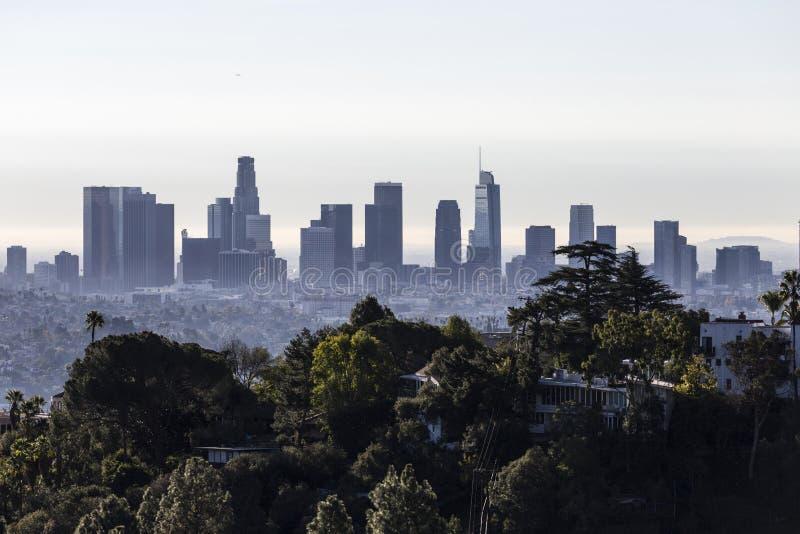 Orizzonte di mattina di Los Angeles e vista della collina fotografie stock