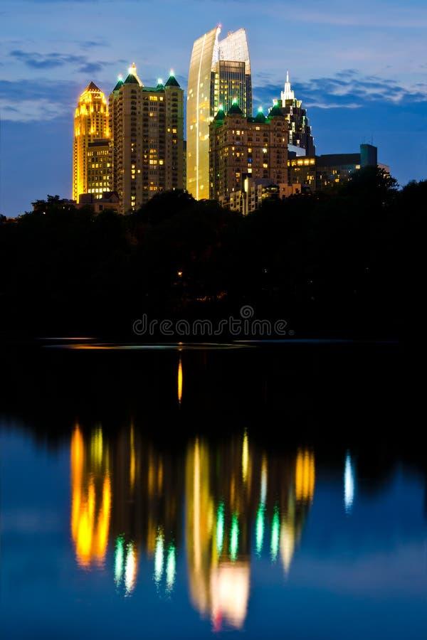 Orizzonte di Midtown di Atlanta fotografie stock