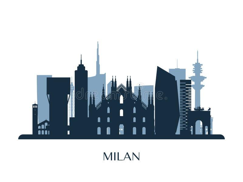 Orizzonte di Milano, siluetta monocromatica illustrazione vettoriale
