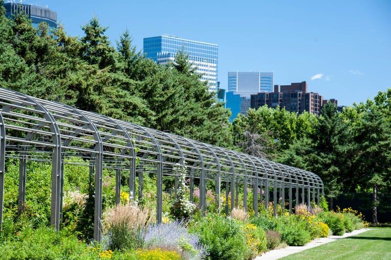 Orizzonte di Minneapolis dal parco della scultura fotografia stock libera da diritti