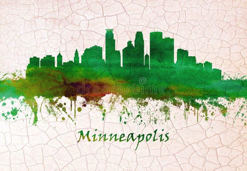 Orizzonte di Minneapolis Minnesota illustrazione di stock