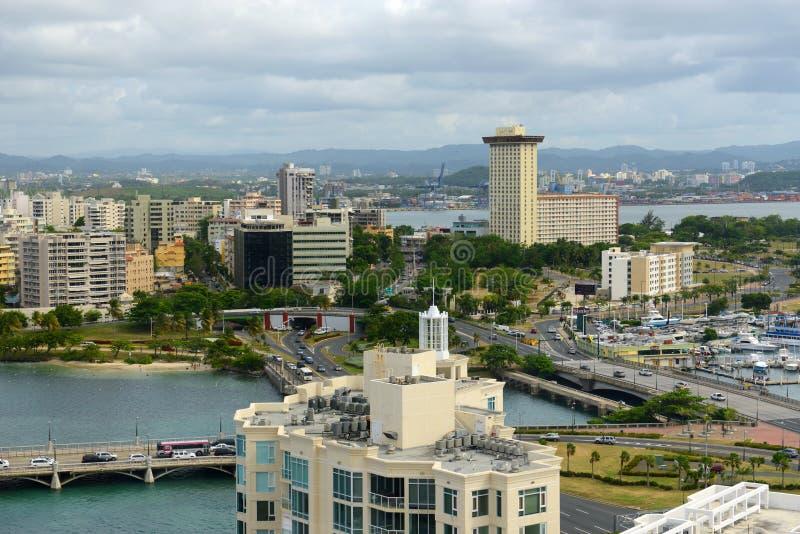 Orizzonte di Miramar, San Juan, Porto Rico fotografie stock libere da diritti