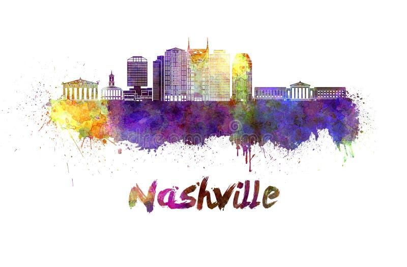 Orizzonte di Nashville in acquerello illustrazione di stock
