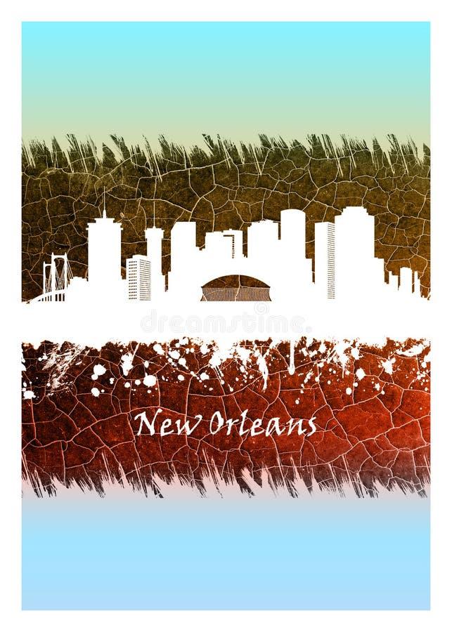 Orizzonte di New Orleans blu e bianco illustrazione di stock