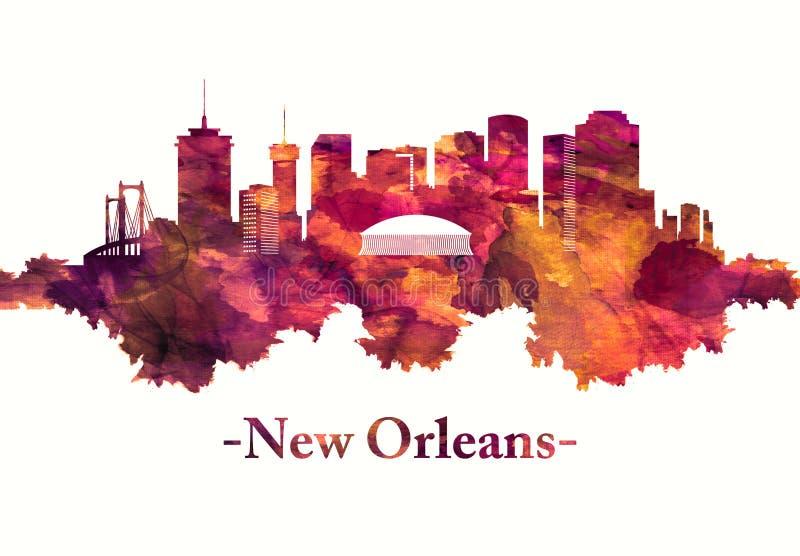Orizzonte di New Orleans Luisiana nel rosso royalty illustrazione gratis