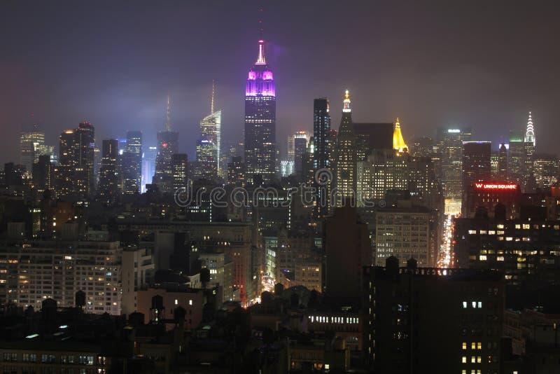 Orizzonte di New York alla notte immagini stock