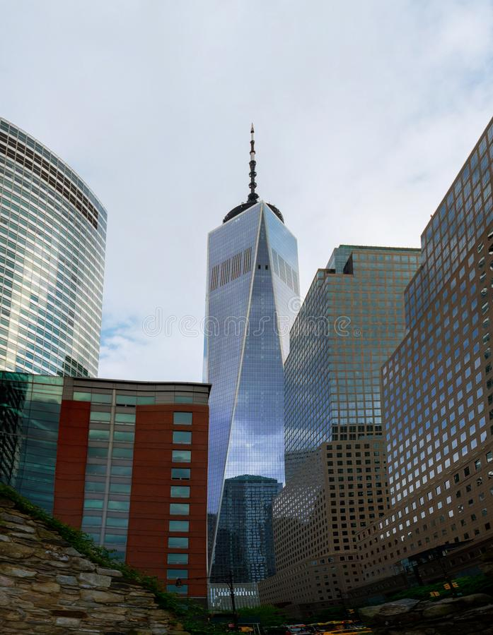 Orizzonte di New York Manhattan con One World Trade Center Freedom Tower immagine stock