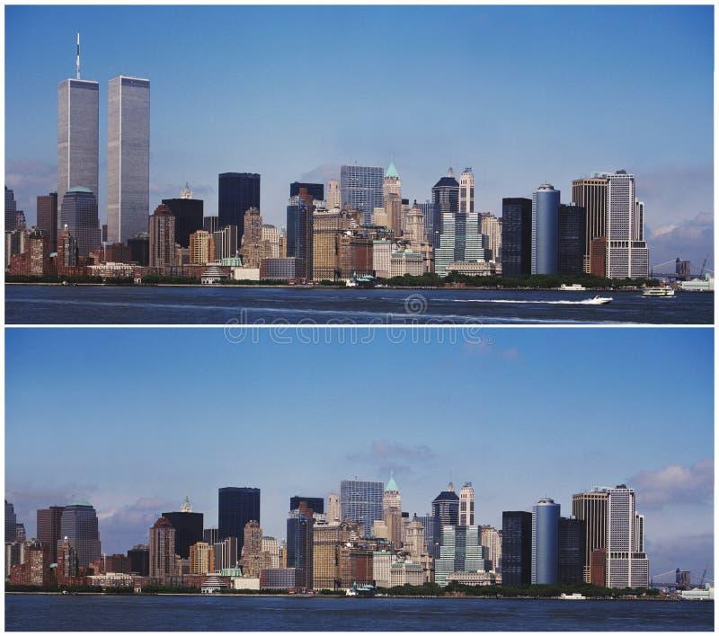 Orizzonte di New York Manhattan - prima e dopo 9/11 immagini stock libere da diritti