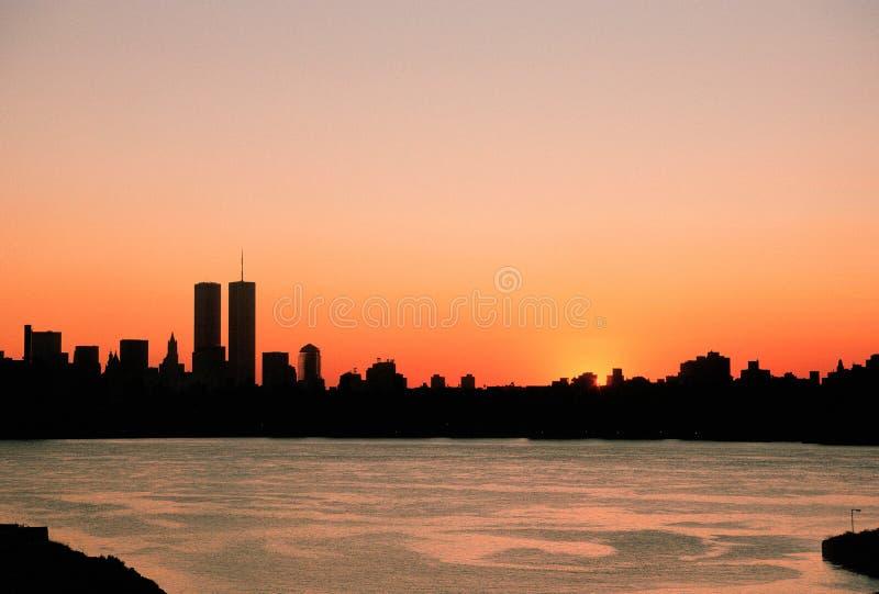 Orizzonte di New York prima di 9-11 fotografia stock libera da diritti
