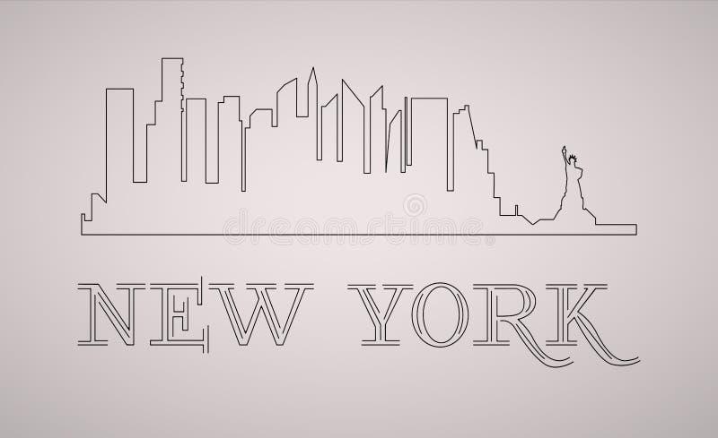 Orizzonte di New York U.S.A. e siluetta dei punti di riferimento, progettazione in bianco e nero, illustrazione royalty illustrazione gratis