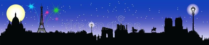Orizzonte di notte di Parigi royalty illustrazione gratis