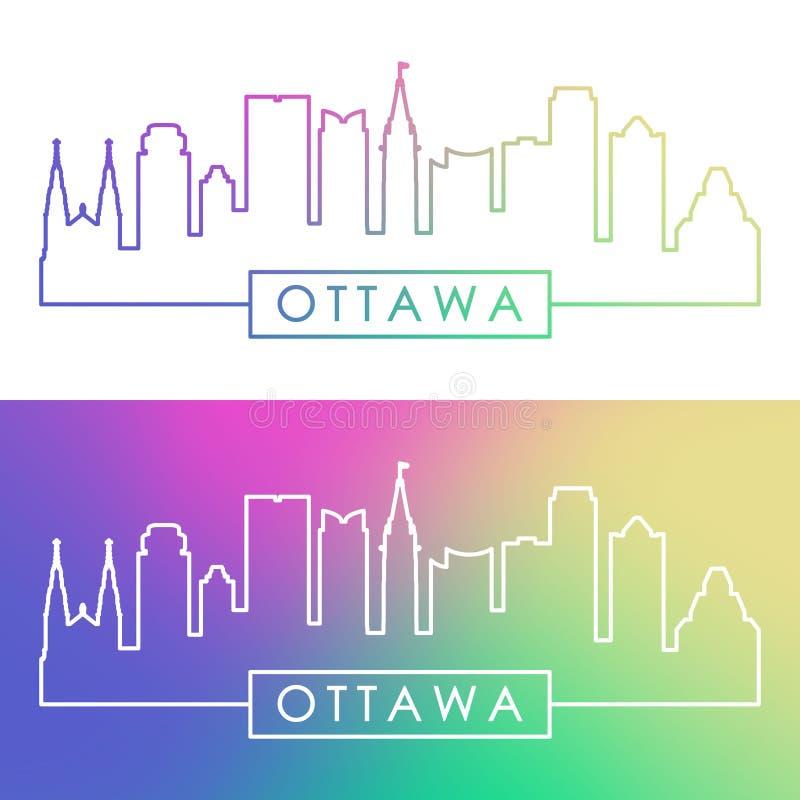 Orizzonte di Ottawa Stile lineare variopinto illustrazione di stock
