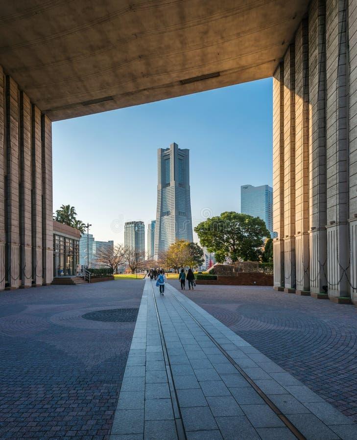 Orizzonte di paesaggio urbano di Yokohama, Giappone immagine stock