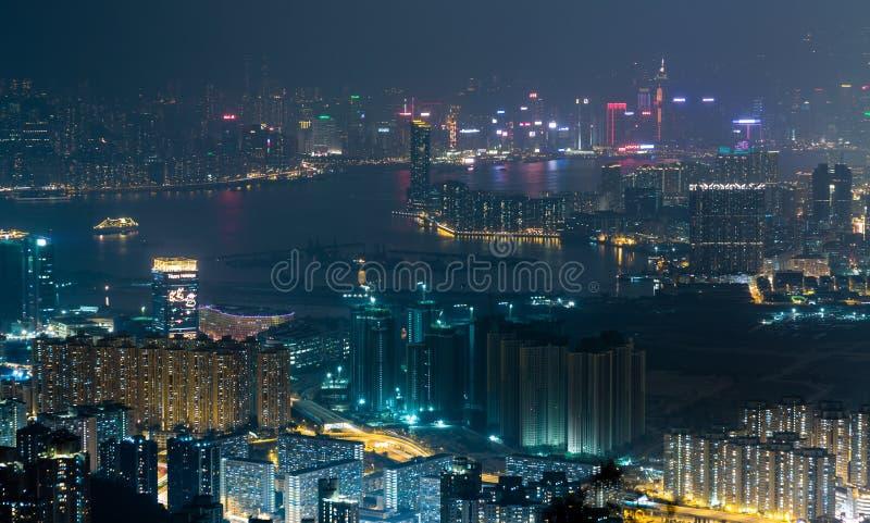 Orizzonte di paesaggio urbano di Hong Kong fotografia stock libera da diritti