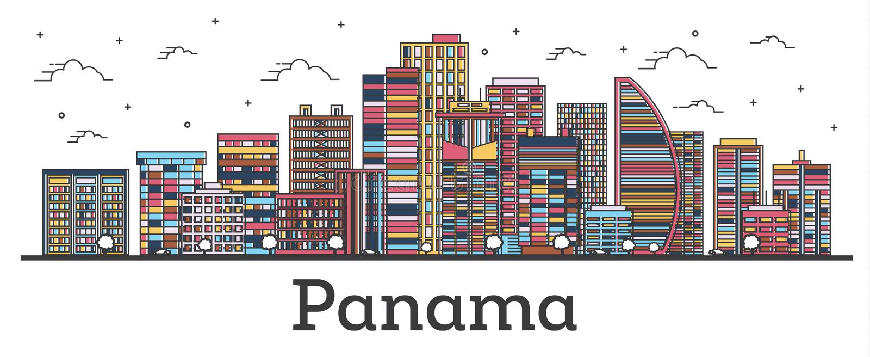 Orizzonte di Panamá del profilo con le costruzioni di colore isolate su bianco royalty illustrazione gratis