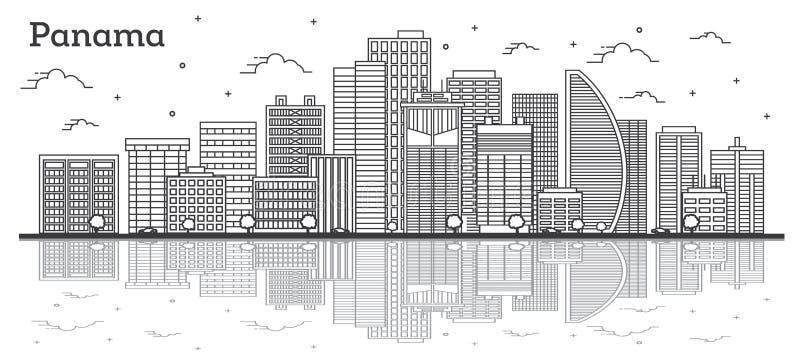 Orizzonte di Panamá del profilo con le costruzioni moderne e riflessioni isolati su bianco illustrazione vettoriale