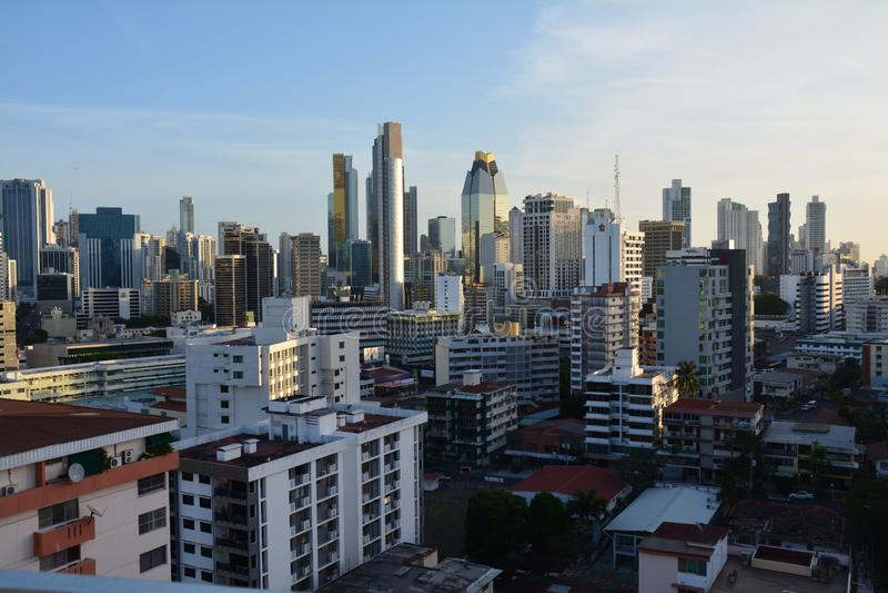 Orizzonte di Panamá nel Panama al tramonto immagine stock libera da diritti