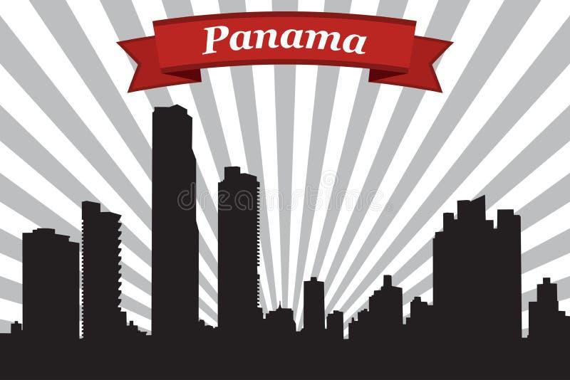 Orizzonte di Panama City con il fondo ed il nastro dei raggi royalty illustrazione gratis