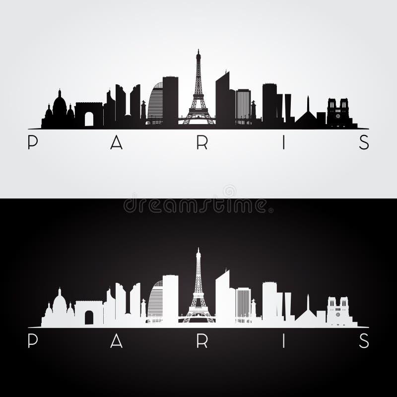 Orizzonte di Parigi e siluetta dei punti di riferimento royalty illustrazione gratis