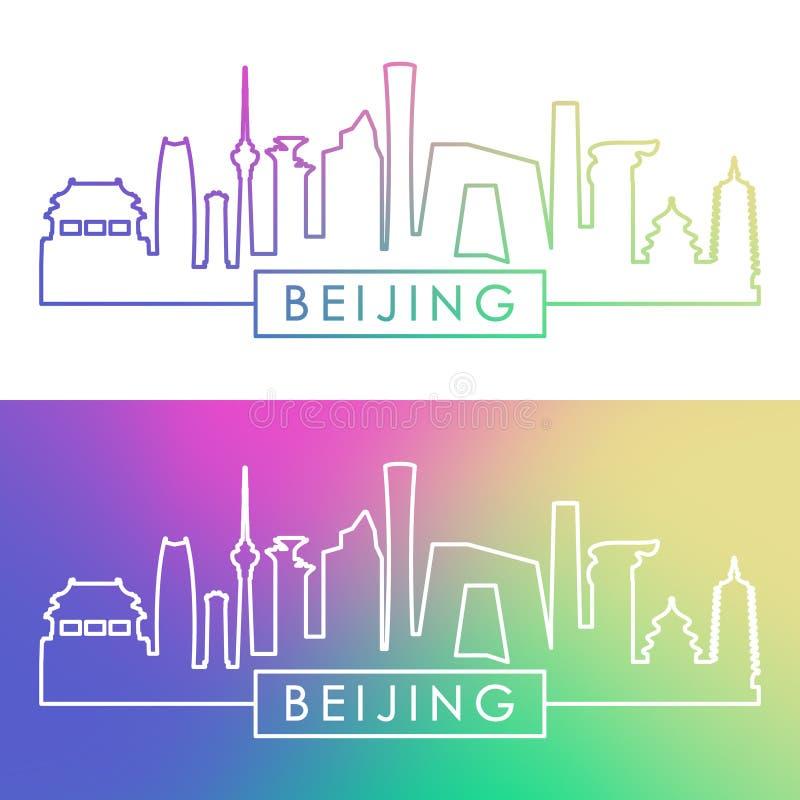 Orizzonte di Pechino Stile lineare variopinto illustrazione di stock
