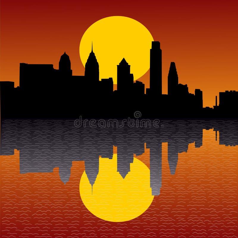 Orizzonte di Philadelphia al tramonto royalty illustrazione gratis