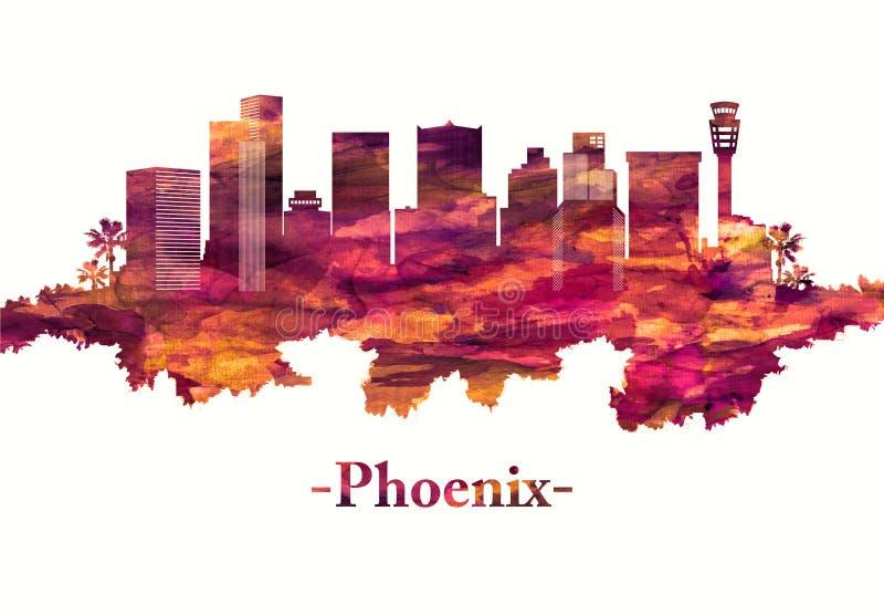 Orizzonte di Phoenix Arizona nel rosso royalty illustrazione gratis