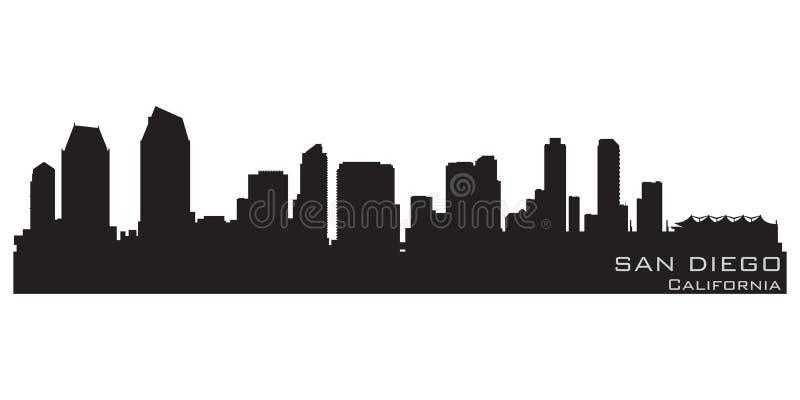 Orizzonte di San Diego, California Siluetta dettagliata di vettore illustrazione vettoriale