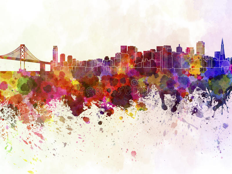 Orizzonte di San Francisco nel fondo dell'acquerello royalty illustrazione gratis