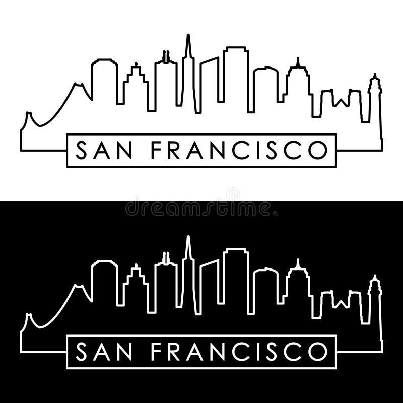 Orizzonte di San Francisco stile lineare illustrazione vettoriale