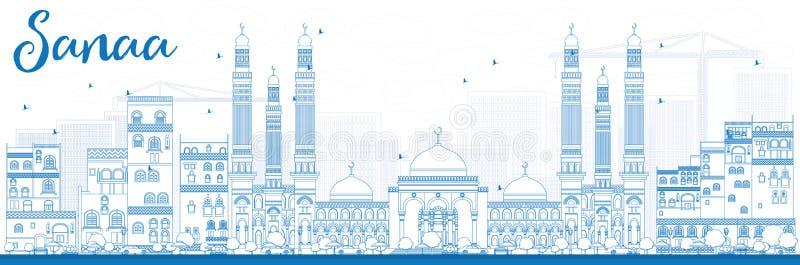 Orizzonte di Sanaa del profilo (Yemen) con le costruzioni blu royalty illustrazione gratis