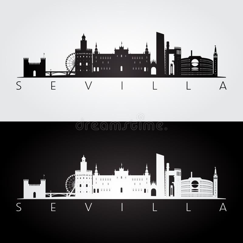 Orizzonte di Sevilla e siluetta dei punti di riferimento illustrazione di stock