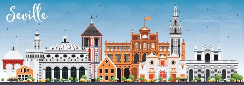Orizzonte di Siviglia con le costruzioni ed il cielo blu di colore illustrazione vettoriale