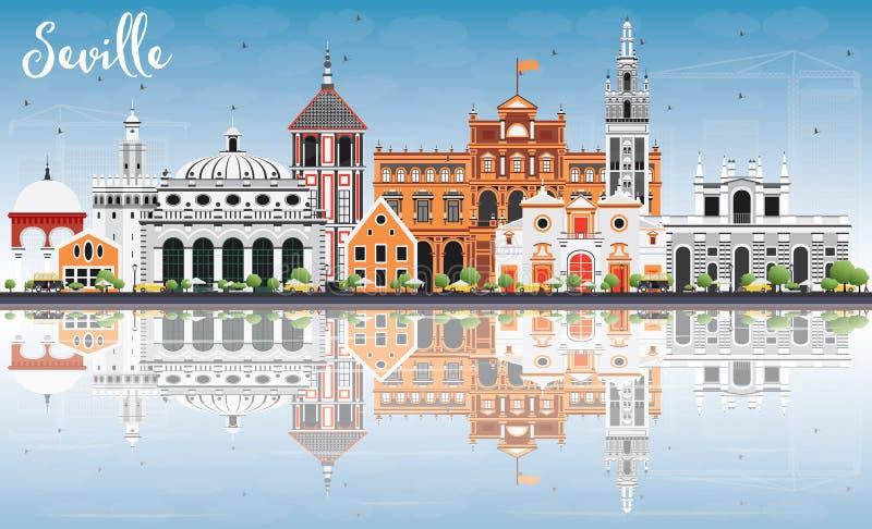 Orizzonte di Siviglia con le costruzioni, il cielo blu e la riflessione di colore illustrazione di stock