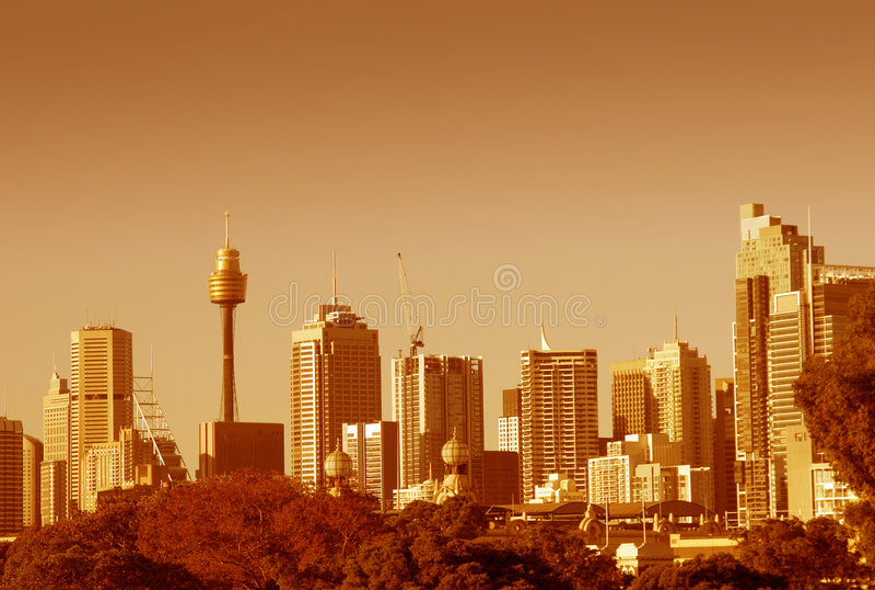 Orizzonte di Sydney in arancio fotografia stock