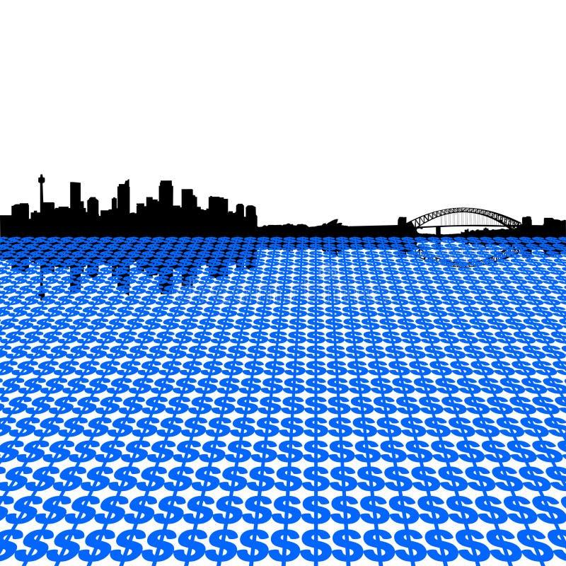 Orizzonte di Sydney con i dollari illustrazione vettoriale