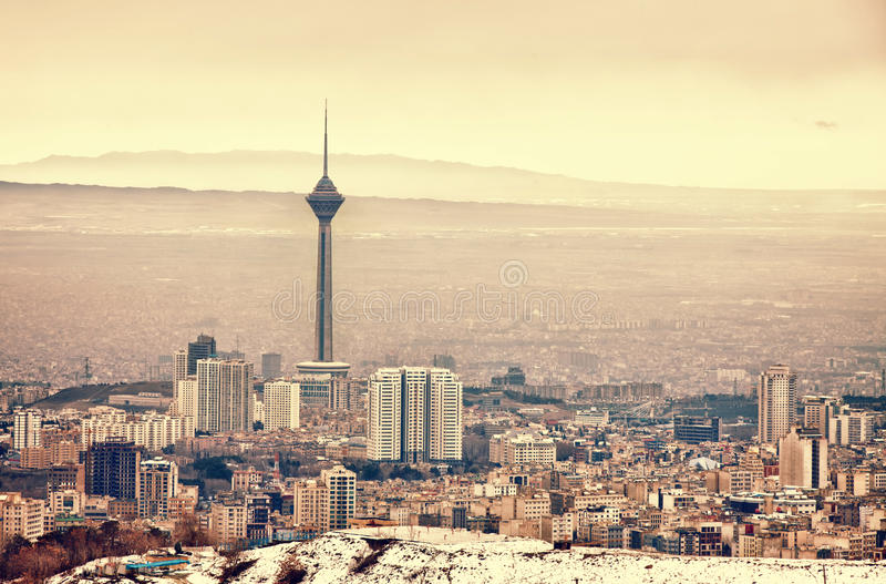 Orizzonte di Tehran fotografia stock libera da diritti