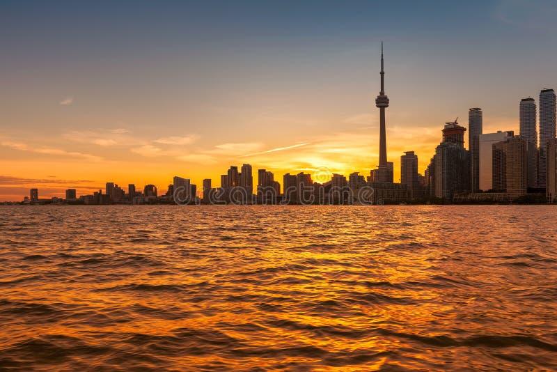 Orizzonte di Toronto al tramonto, Ontario, Canada immagini stock