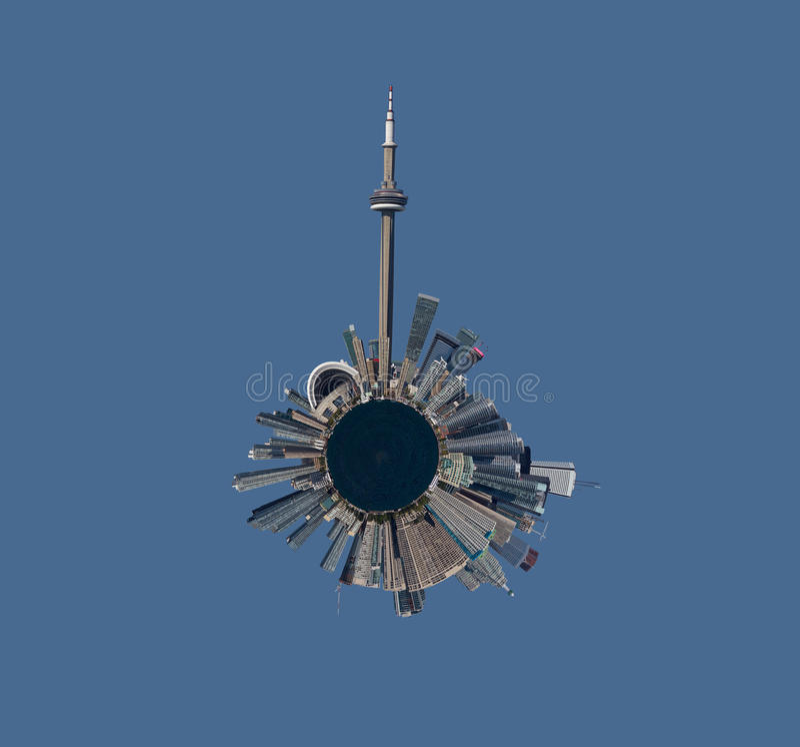 Orizzonte di Toronto nella vista sferica fotografia stock