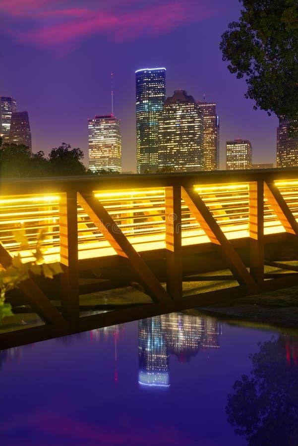 Orizzonte di tramonto di Houston dal Texas Stati Uniti fotografie stock libere da diritti