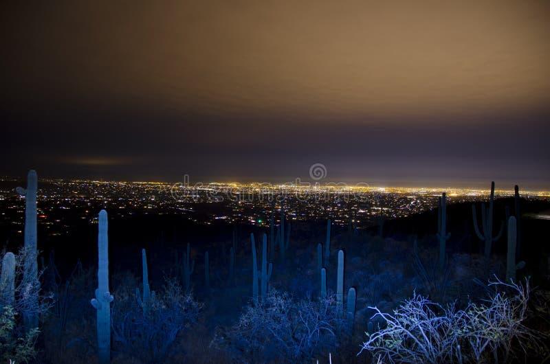 Orizzonte di Tucson alla notte fotografia stock libera da diritti