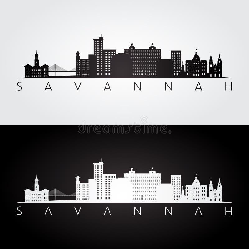 Orizzonte di U.S.A. della savana e siluetta dei punti di riferimento royalty illustrazione gratis