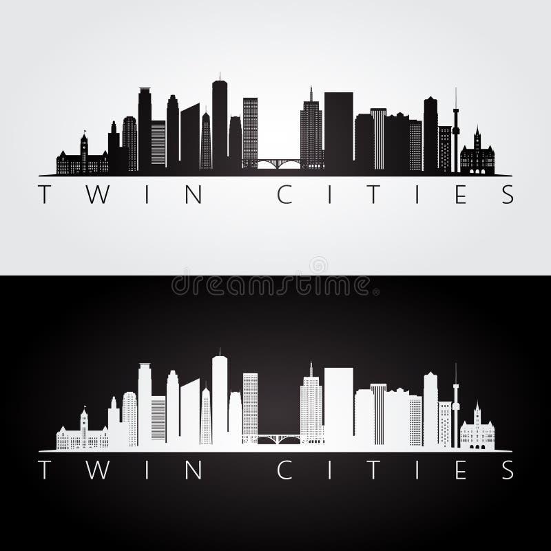 Orizzonte di U.S.A. delle città gemellate e siluetta dei punti di riferimento illustrazione di stock