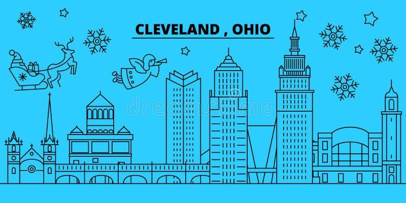 Orizzonte di vacanze invernali degli Stati Uniti, Cleveland Il Buon Natale, buon anno ha decorato l'insegna con Santa Claus royalty illustrazione gratis