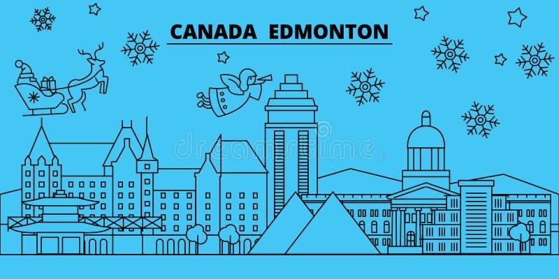 Orizzonte di vacanze invernali del Canada, Edmonton Il Buon Natale, buon anno ha decorato l'insegna con Santa Claus canada illustrazione vettoriale
