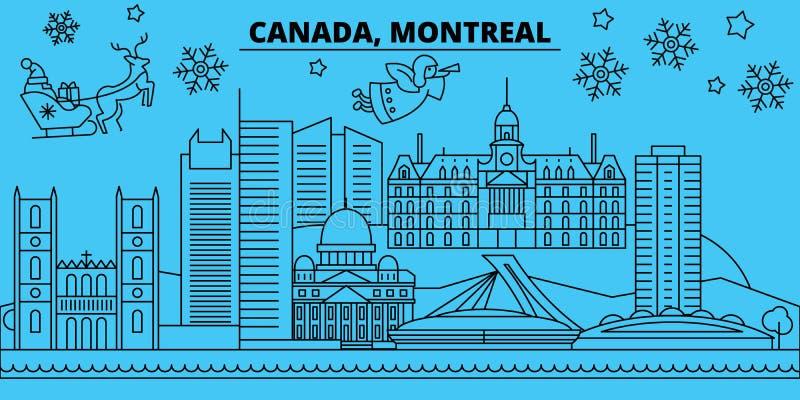 Orizzonte di vacanze invernali del Canada, Montreal Il Buon Natale, buon anno ha decorato l'insegna con Santa Claus canada illustrazione di stock