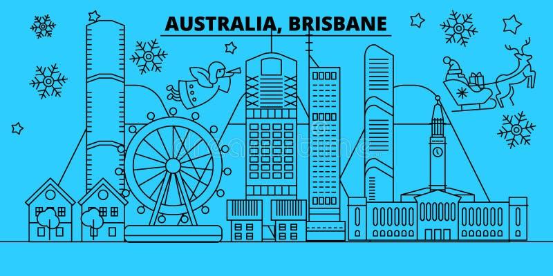 Orizzonte di vacanze invernali dell'Australia, Brisbane Il Buon Natale, buon anno ha decorato l'insegna con Santa Claus piano illustrazione vettoriale